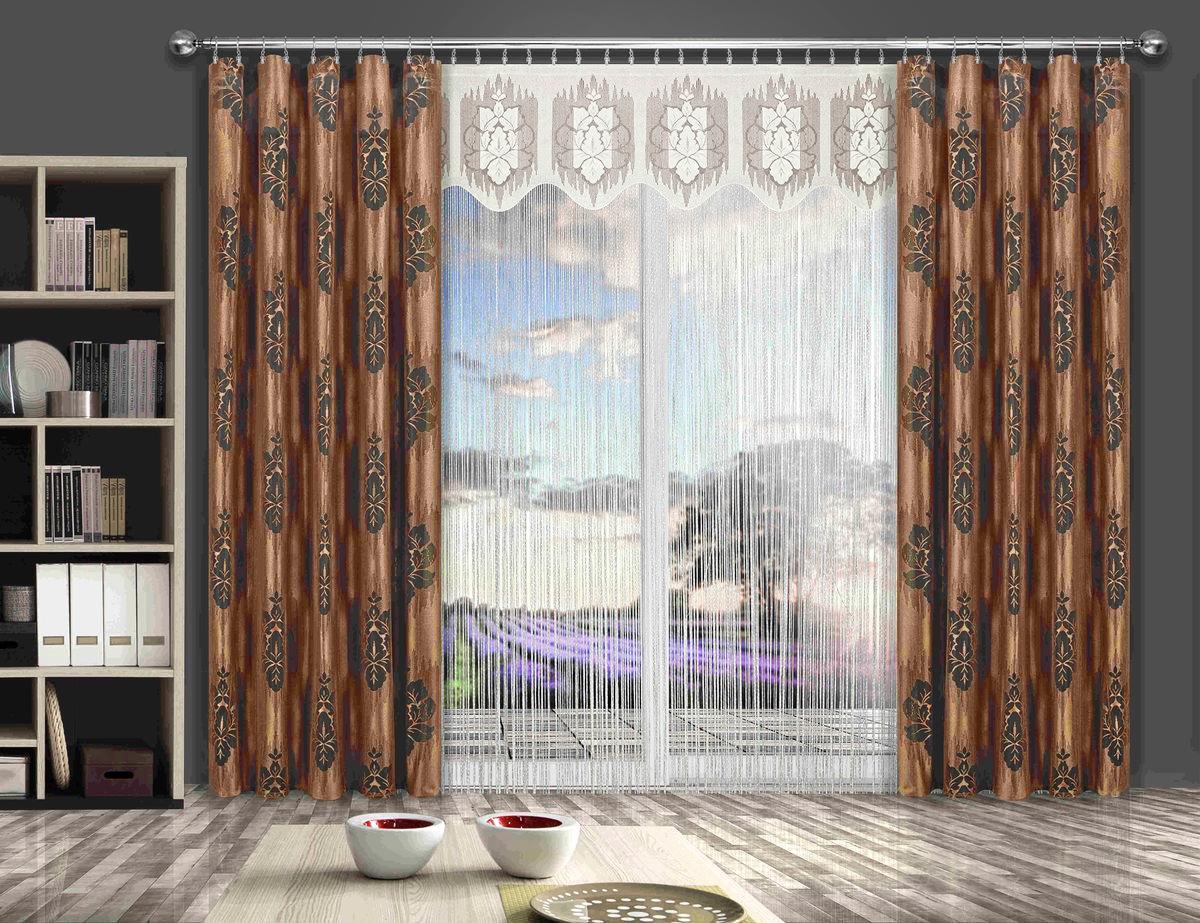 Комплект штор Wisan Liwia, на ленте, цвет: кремовый, коричневый, высота 250 см