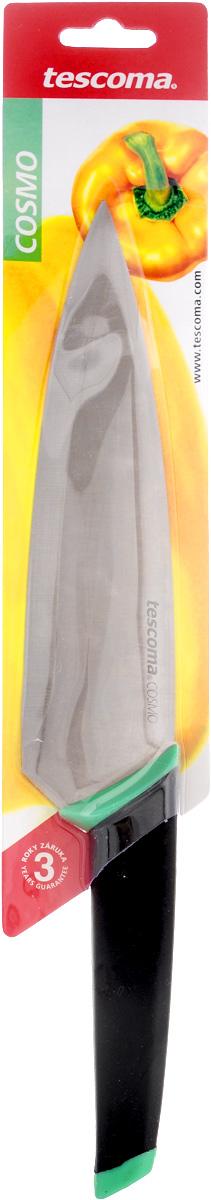 Нож кулинарный Tescoma Cosmo, цвет: черный, бирюзовый, длина лезвия 20 см863515Кулинарный нож Tescoma Cosmo выполнен из высококачественной нержавеющей стали и дополнен эргономичной ручкой из пластика с резиновой вставкой, что обеспечивает более удобное использование изделия. Нож с длинным широким клинком обеспечивает комфортную работу и быструю нарезку. Такой нож займет достойное место среди аксессуаров на вашей кухне. Можно мыть в посудомоечной машине. Длина ножа: 32,5 см. Длина лезвия: 20 см.
