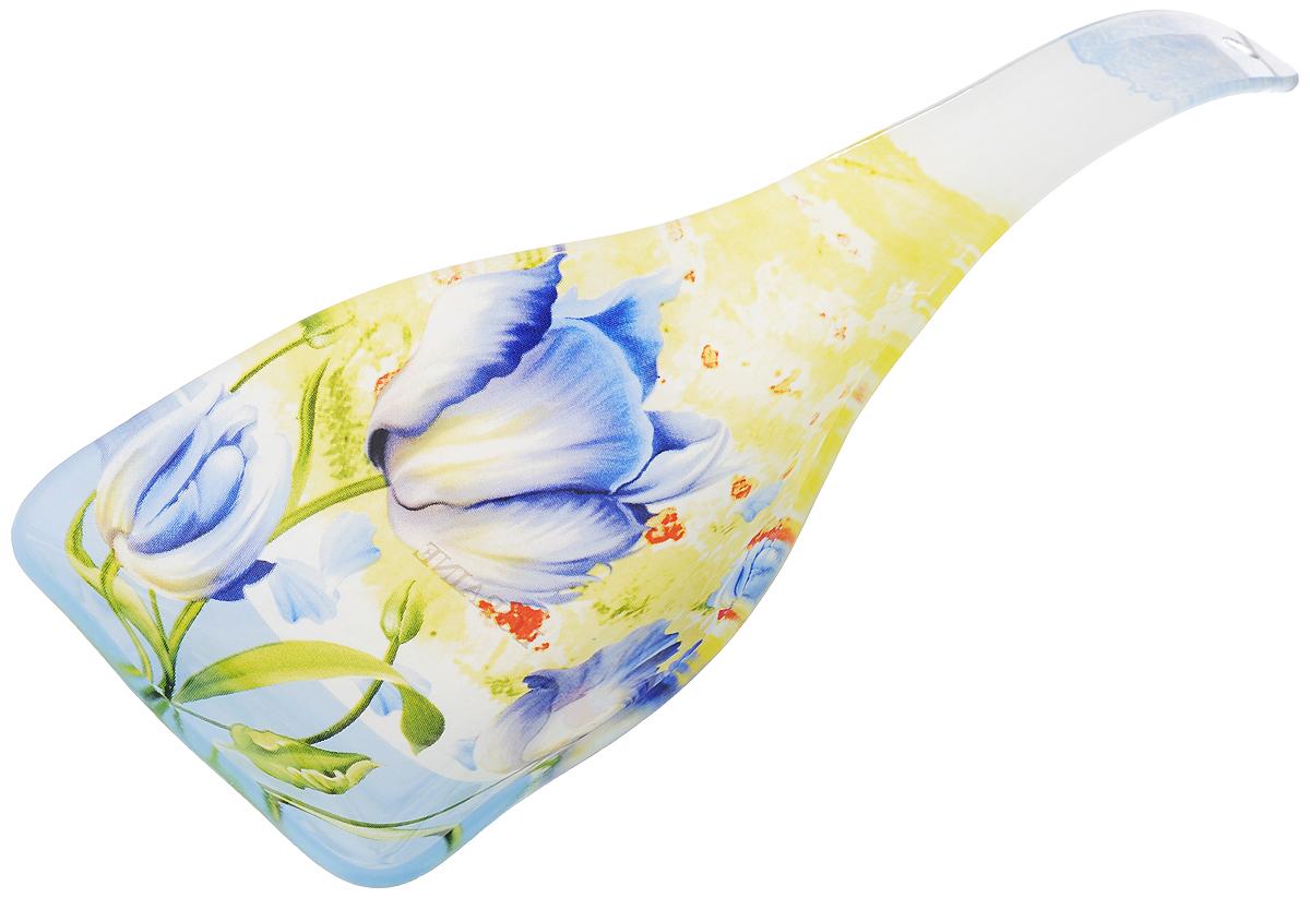 Подставка для ложки Loraine Цветы, длина 25 см23922Подставка для ложки Loraine Цветы станет не заменимым помощником на вашей кухне. Изделие, изготовленное из высококачественного стекла, предназначено для поддержания чистоты на кухонном столе при приготовлении пищи. Ложка оформлена оригинальными цветочными узорами и имеет стильный внешний вид. Поставьте ее рядом с плитой, и кладите на подставку ложку, половник или лопатку, которыми вы помешиваете блюда. Размер подставки: 25 х 9 х 3 см.