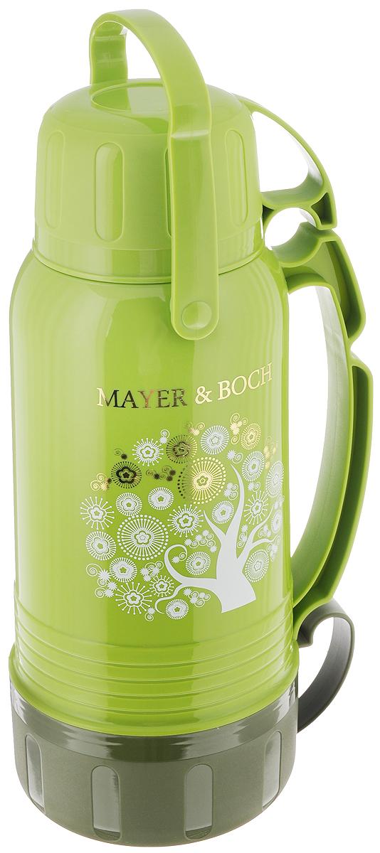 Термос Mayer & Boch, с чашами, цвет: зеленый, 1,8 л. 2370423704Термос Mayer & Boch со стеклянной колбой в полипропиленовом корпусе является одним из востребованных в России. Его температурная характеристика ни в чем не уступает термосам со стальными колбами, но благодаря свойствам стекла этот термос может быть использован для заваривания напитков с устойчивыми ароматами. Изделие оснащено двумя эргономичными ручками. В комплекте с термосом - две чаши разных размеров и дополнительный стакан. Завинчивающаяся герметичная крышка предохранит от проливаний. Температура напитков сохраняется на длительное время. Термос Mayer & Boch станет не только надежным другом в походе, но и отличным украшением вашей кухни. Высота термоса: 32 см. Диаметр основания термоса: 12,5 см. Диаметр: 5,5 см. Размер большой чашки (без учета ручки): 13,5 х 13,5 х 7 см. Размер средней чашки (без учета ручки): 10 х 10 х 7 см. Размер стакана: 9 х 9 х 5,5 см.