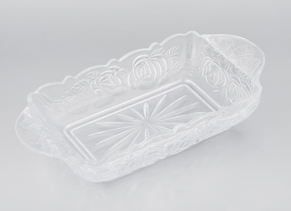 Шубница Elan Gallery Розы, 900 мл890074Шубница Elan Gallery Розы, выполненная из высококачественного стекла, идеальное блюдо для сервировки традиционного салата Сельдь под шубой или любого другого слоеного салата. Компактное, аккуратное блюдо с ручками для удобства станет незаменимым при любом застолье. Не рекомендуется применять абразивные моющие средства. Не использовать в микроволновой печи. Объем: 900 мл. Размер блюда (с учетом ручек): 29,5 х 15 х 5,5 см.