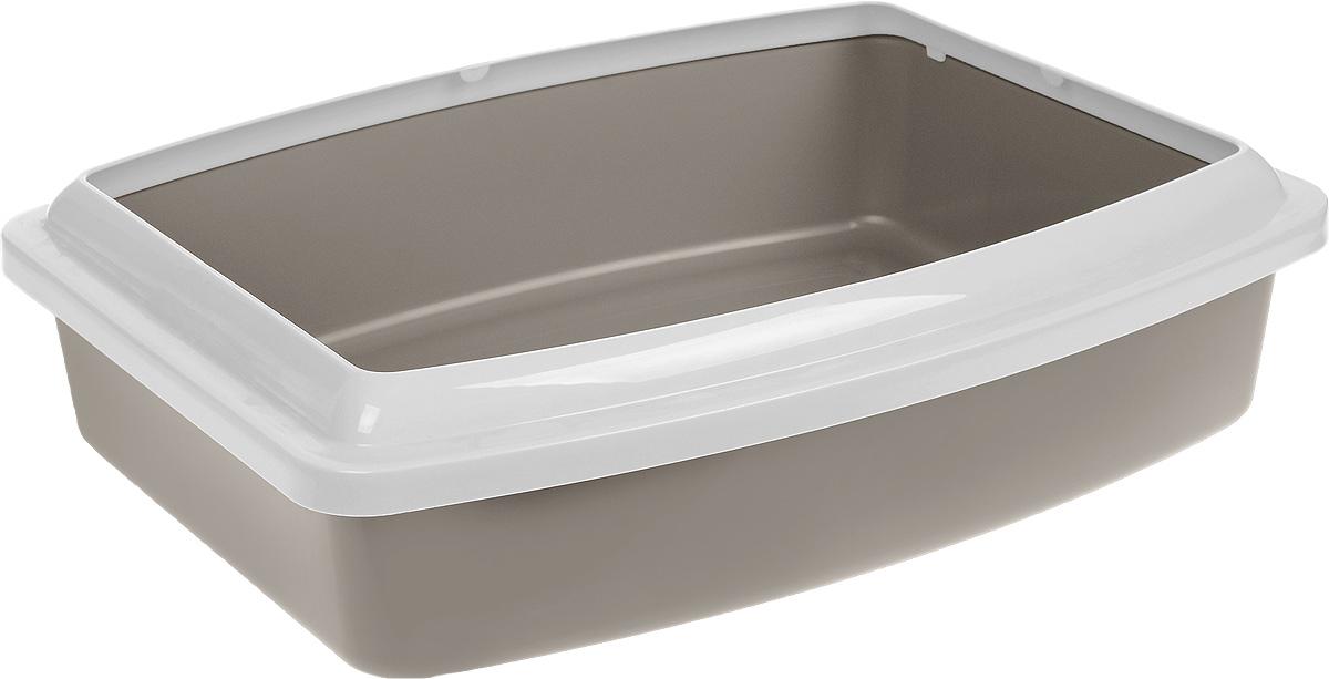 Туалет для кошек Savic Oval Trays Jumbo, с бортом, цвет: серо-коричневый, светло-серый, 56 х 43,5 х 14,5 см209_серо-коричневыйТуалет для кошек Savic Oval Trays Jumbo изготовлен из качественного прочного пластика. Высокий цветной борт, прикрепленный по периметру лотка, удобно защелкивается и предотвращает разбрасывание наполнителя.