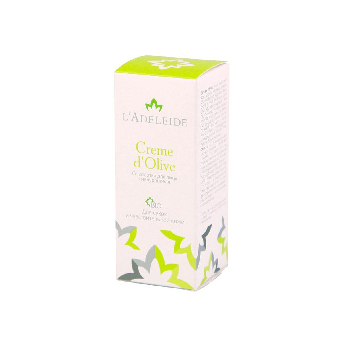 LAdeleide Сыворотка для лица гиалуроновая Creme d'Olive, 15 млКС-412Сыворотка L'Adeleide Creme d'Olive - это сочетание новейших компонентов для сухой и чувствительной кожи в максимальной концентрации. Экспресс-уход для восстановления кожи. В составе растительные стволовые клетки и микрочастицы, которые повышают эластичность, способствуют разглаживанию морщин, тон кожи выравнивается. Кожа приобретает сияние молодости. Средство не предназначено для использования каждый день, из-за очень сильного эффекта. Его лучше всего использовать как скорую помощь при раздражении и сухости кожи. В основе невероятной эффективности крема: Phycosaccharide Al – мгновенно (!) снимает раздражение. Epidermist 4.0 - Создатель новой кожи. Активно стимулирует создание обновленных клеток эпидермиса, активизирует естественную защиту кожи, подавляет рост Pro-acne бактерий. Гиалуроновая кислота – (высоко- и низкомолекулярная, растительного происхождения) – один из лучших увлажняющих компонентов. Масло Оливы - традиционный оживляющий компонент.