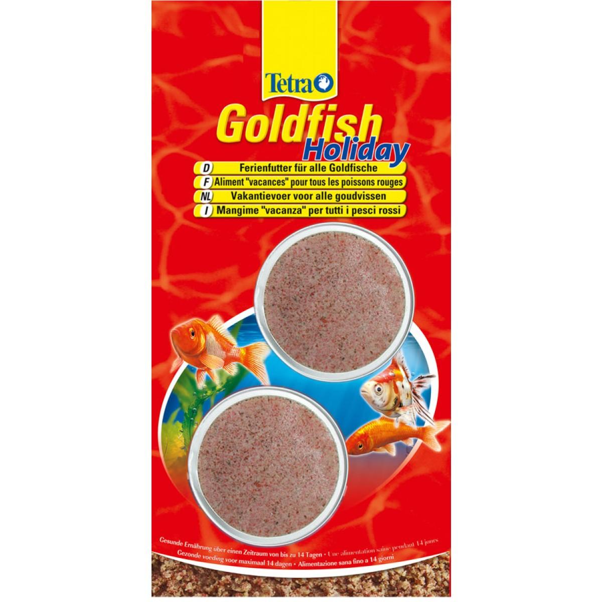 Корм для золотых рыбок Tetra Goldfish Holiday, твердый гель, 2 х 12 г158764Корм Tetra Goldfish Holiday - это здоровое питание для золотых рыбок в течение 14 дней. Корм изготовлен в виде твердого геля, который погружается в воду и обеспечивает полноценное вскармливание рыбок на протяжении 2 недель. Запатентованная формула корма содержит вкусные дафнии, необходимые микроэлементы, витамины и минеральные вещества. Использование корма не изменяет качественных показателей аквариумной воды: корм долго не растворяется в воде, тем самым не загрязняя ее. Блок на 100% съедобный. В упаковке 2 блока по 12 г. Товар сертифицирован.