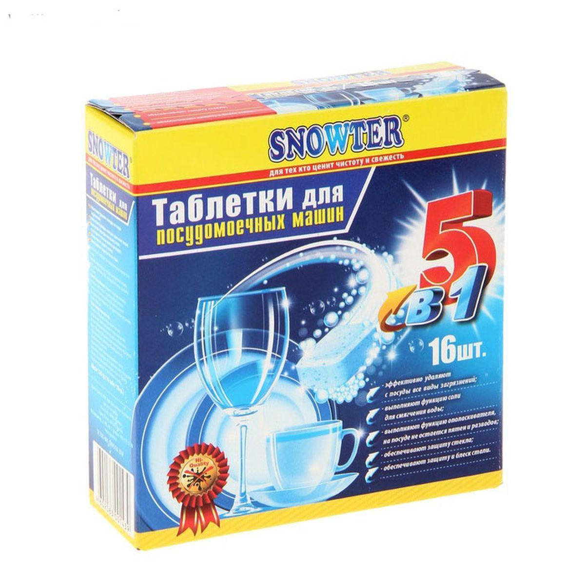 Таблетки для посудомоечных машин Snowter 5 в 1, 16 шт x 20 г4602083001439Таблетки Snowter 5 в 1 подходят для посудомоечных машин всех типов. Основные преимущества данного средства: - эффективно удаляют с посуды все виды загрязнений, - выполняют функцию соли для смягчения воды, - выполняют функцию ополаскивателя: на посуде не остается пятен и разводов, - обеспечивают защиту стекла, - обеспечивают защиту и блеск стали. Состав: триполифосфат натрия (более 30%), перкарбонат натрия (5-15%), поликарбоксилат (5- 15%), фосфаты (5-15%), неионогенные ПАВ (менее 5%), ТАЕД, энимы. Товар сертифицирован. Уважаемые клиенты! Обращаем ваше внимание на возможные изменения в дизайне упаковки. Качественные характеристики товара остаются неизменными. Поставка осуществляется в зависимости от наличия на складе.