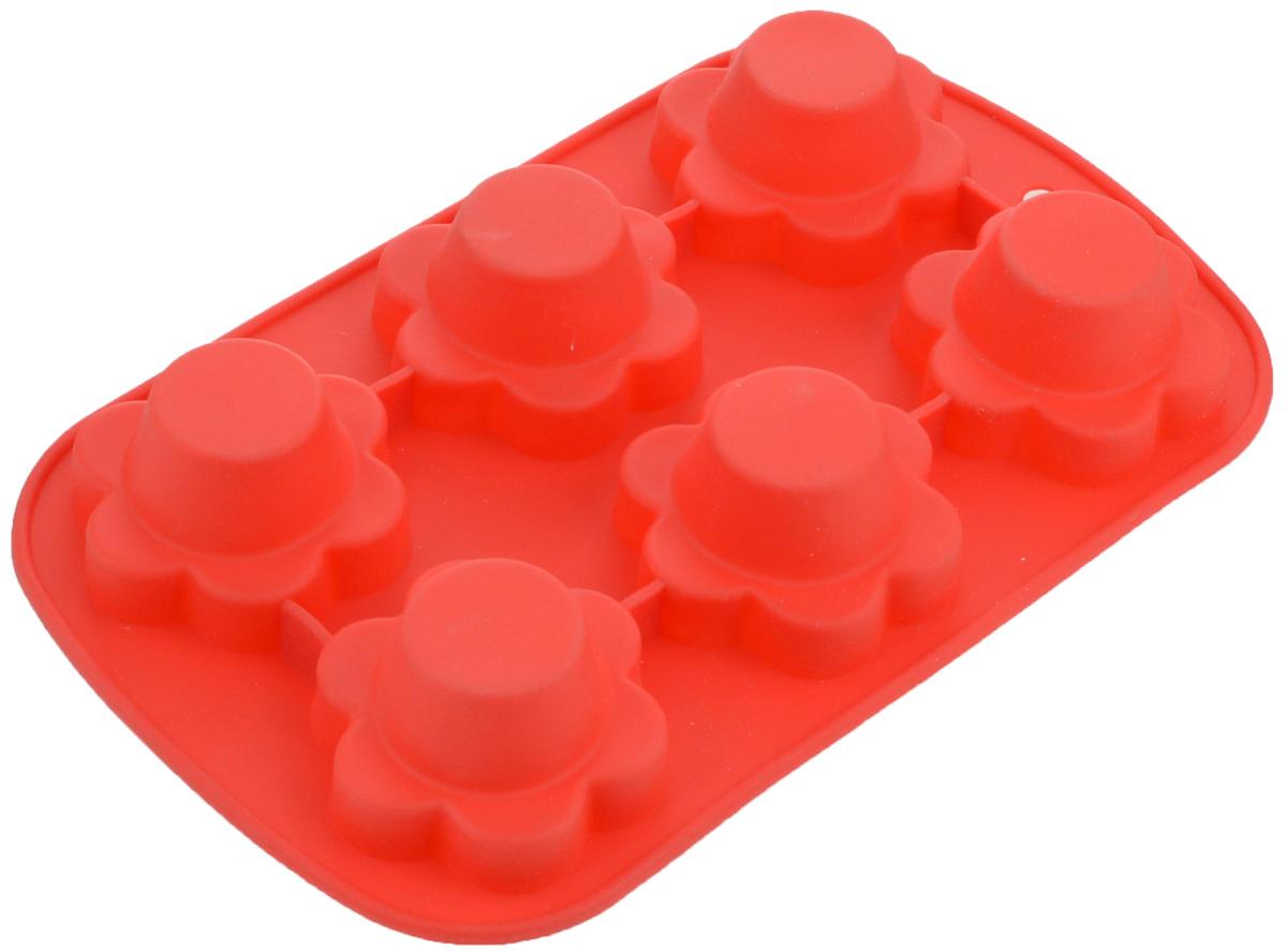 Форма для выпечки Mayer & Boch, силиконовая, цвет: красный, 6 ячеек20034Форма Mayer & Boch выполнена из силикона и предназначена для изготовления выпечки, желе или льда. Изделие имеет 6 ячеек, которые оформлены в виде цветов. Оригинальный способ подачи изделий не оставит равнодушным родных и друзей. Форма выдерживает от -40°С до +210°С. Она эластична, износостойка, легко моется, не горит и не тлеет, не впитывает запахи, не оставляет пятен. Силикон абсолютно безвреден для здоровья. Можно мыть в посудомоечной машине. Размер ячейки: 7 х 7 х 4 см.