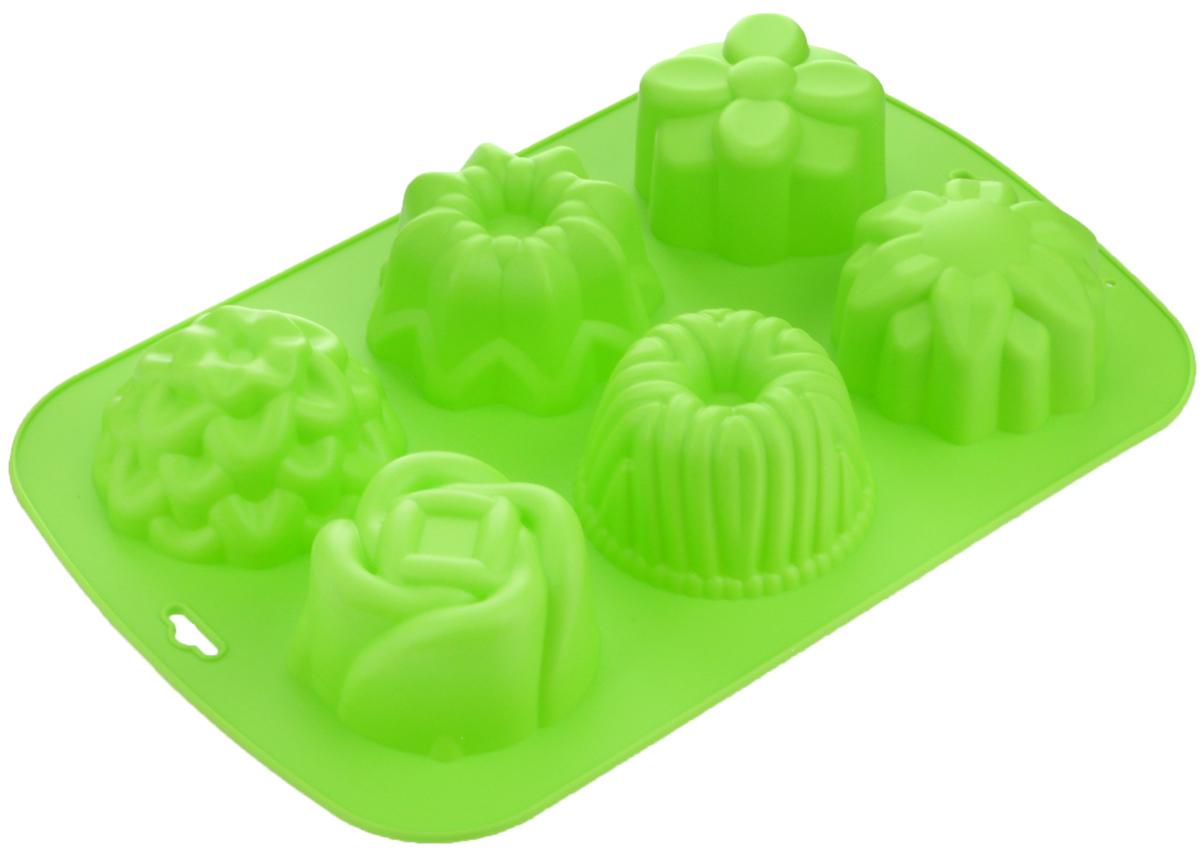 Форма для выпечки Mayer & Boch, силиконовая, цвет: салатовый, 6 ячеек24635_салатовыйФорма Mayer & Boch выполнена из силикона и предназначена для изготовления выпечки, желе или льда. Изделие имеет 6 ячеек, которые различаются по размеру и форме. Оригинальный способ подачи изделий не оставит равнодушным родных и друзей. Форма выдерживает от -40°С до +230°С. Она эластична, износостойка, легко моется, не горит и не тлеет, не впитывает запахи, не оставляет пятен. Силикон абсолютно безвреден для здоровья. Можно мыть в посудомоечной машине. Средний размер ячейки: 8 х 8 х 4,5 см.