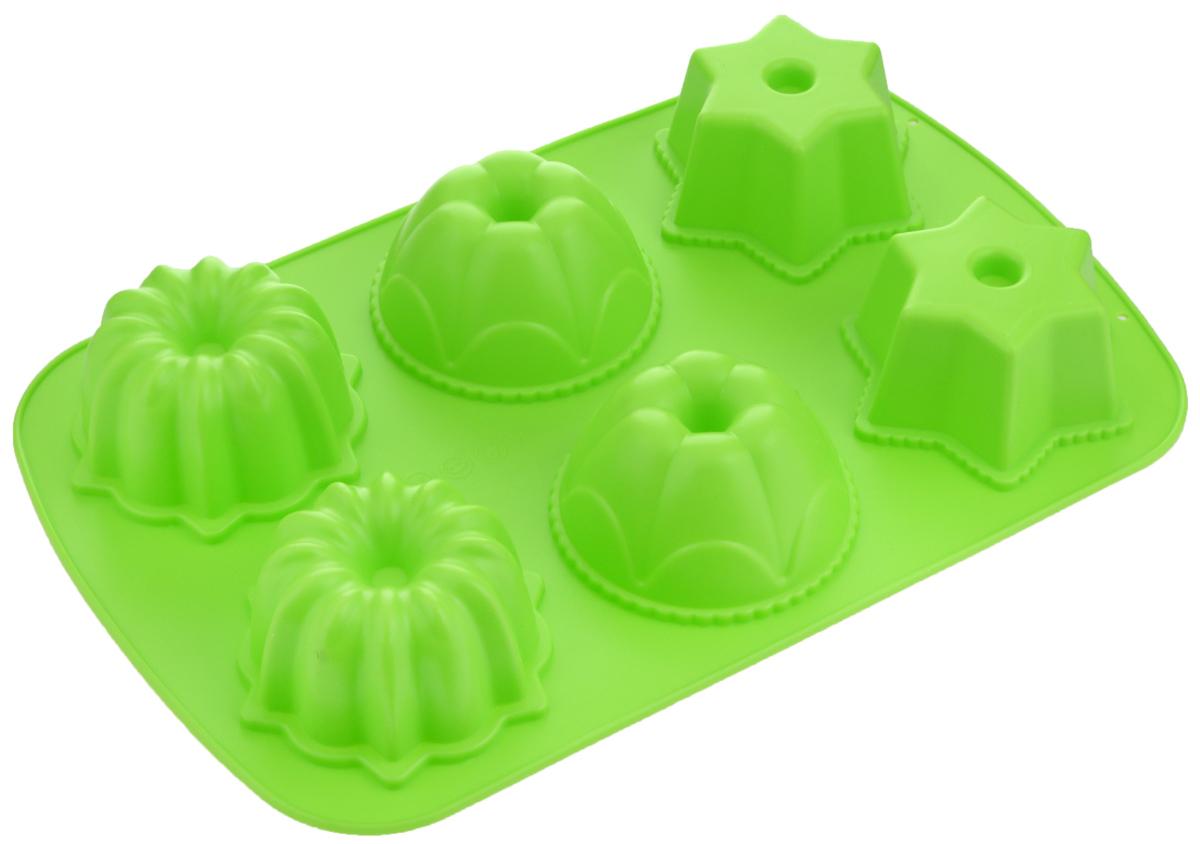 """Форма для выпечки """"Mayer & Boch"""", силиконовая, цвет: зеленый, 6 ячеек. 24636"""