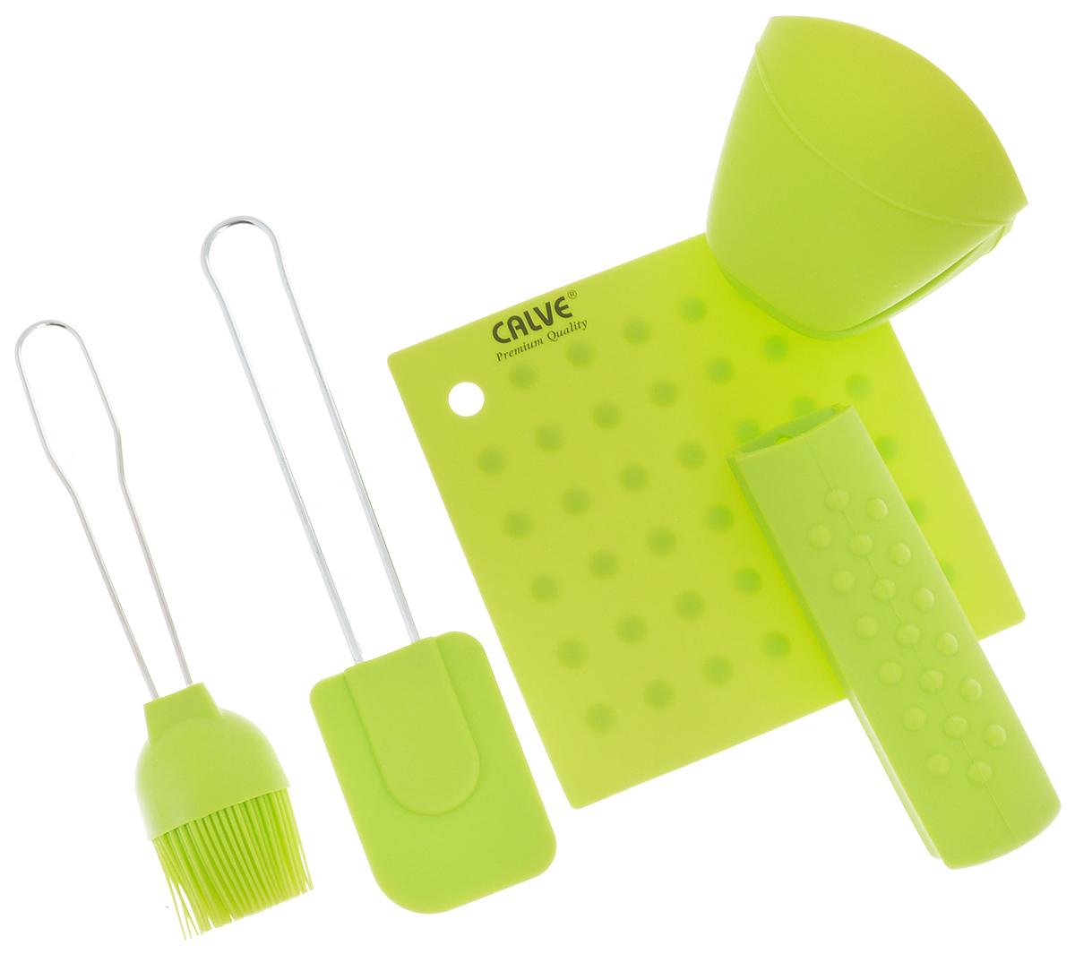 Набор для выпечки Calve, цвет: салатовый, 5 предметовCL-4606Набор для выпечки Calve состоит из подставки под горячее, лопатки, кисточки, прихватки на ручку и прихватки для пальцев. Это самые востребованные приборы для приготовления выпечки. Все предметы набора выполнены из высококачественного и термостойкого силикона. Ручки лопатки и кисточки выполнены из нержавеющей стали. Изделия безопасны для посуды с антипригарным и керамическим покрытием. Набор для выпечки Calve станет отличным дополнением к коллекции ваших кухонных аксессуаров. Размер подставки под горячее: 17 х 17 см. Размер рабочей поверхности лопатки: 8,5 х 6 х 1 см. Общая длина лопатки: 25 см. Размер рабочей поверхности кисти: 8 х 5 х 2,3 см. Общая длина кисти: 21,5 см. Размер прихватки для пальцев: 10 х 9 х 8 см. Длина прихватки на ручку: 15,5 см.
