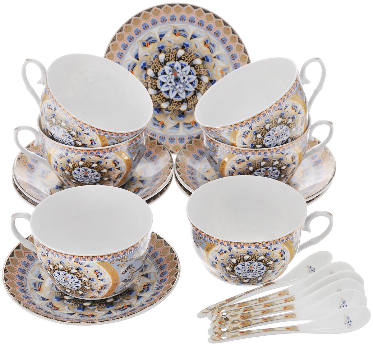 Набор чайный Elan Gallery Калейдоскоп, с ложками, 18 предметов730485Чайный набор Elan Gallery Калейдоскоп состоит из 6 чашек, 6 блюдец и 6 ложечек, изготовленных из высококачественной керамики. Предметы набора декорированы изысканным узором. Чайный набор Elan Gallery Калейдоскоп украсит ваш кухонный стол, а также станет замечательным подарком друзьям и близким. Изделие упаковано в подарочную коробку с атласной подложкой. Не рекомендуется применять абразивные моющие средства. Не использовать в микроволновой печи. Объем чашки: 250 мл. Диаметр чашки по верхнему краю: 9,5 см. Высота чашки: 6 см. Диаметр блюдца: 14 см. Длина ложки: 12,5 см.