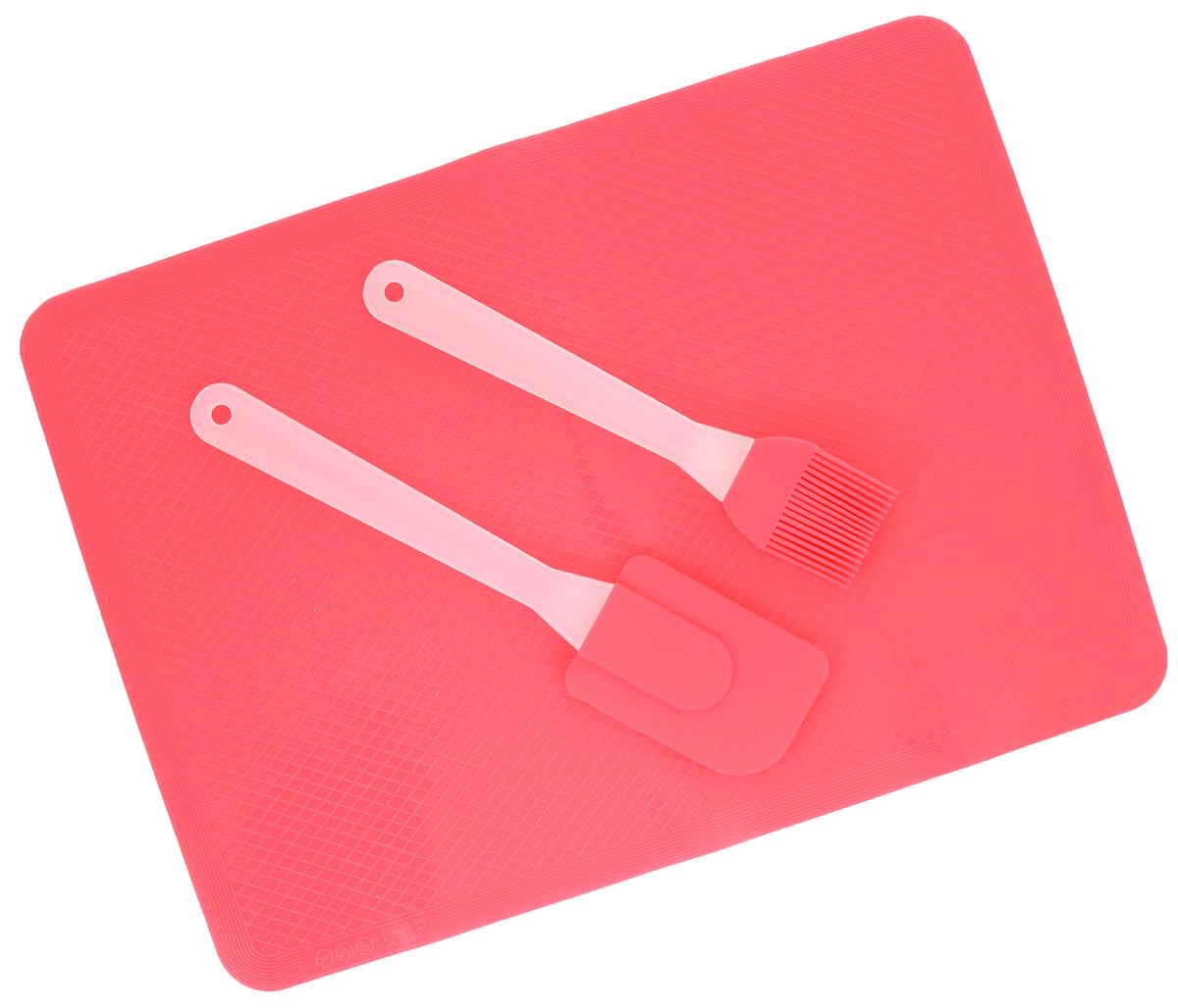 Набор кулинарный Marmiton, силиконовый, цвет: розовый, 3 предмета16061_розовыйНабор Marmiton состоит из кулинарной кисти, кулинарной лопатки и коврика. Предметы набора изготовлены из пищевого силикона. Изделия из силикона выдерживают высокие и низкие температуры (от - 40°С до +220°С). Они износостойки, легко моются, не горят и не тлеют, не впитывают запахи, не оставляют пятен. Силикон абсолютно безвреден для здоровья. Кулинарная лопатка и кисть с удобными пластиковыми ручками станут вашими незаменимыми помощниками на кухне, так как их можно использовать на посуде с любыми видами покрытий. Коврик быстро нагревается, равномерно пропекает, не допускает подгорания выпечки с краев или снизу. Нет необходимости смазывать коврик маслом. Кулинарный набор Marmiton - отличный подарок, необходимый любой хозяйке. Изделия можно мыть в посудомоечной машине. Длина кулинарной лопатки: 25 см. Размер рабочей поверхности лопатка: 8,5 х 6 см. Длина кулинарной кисти: 21 см. Размер рабочей...