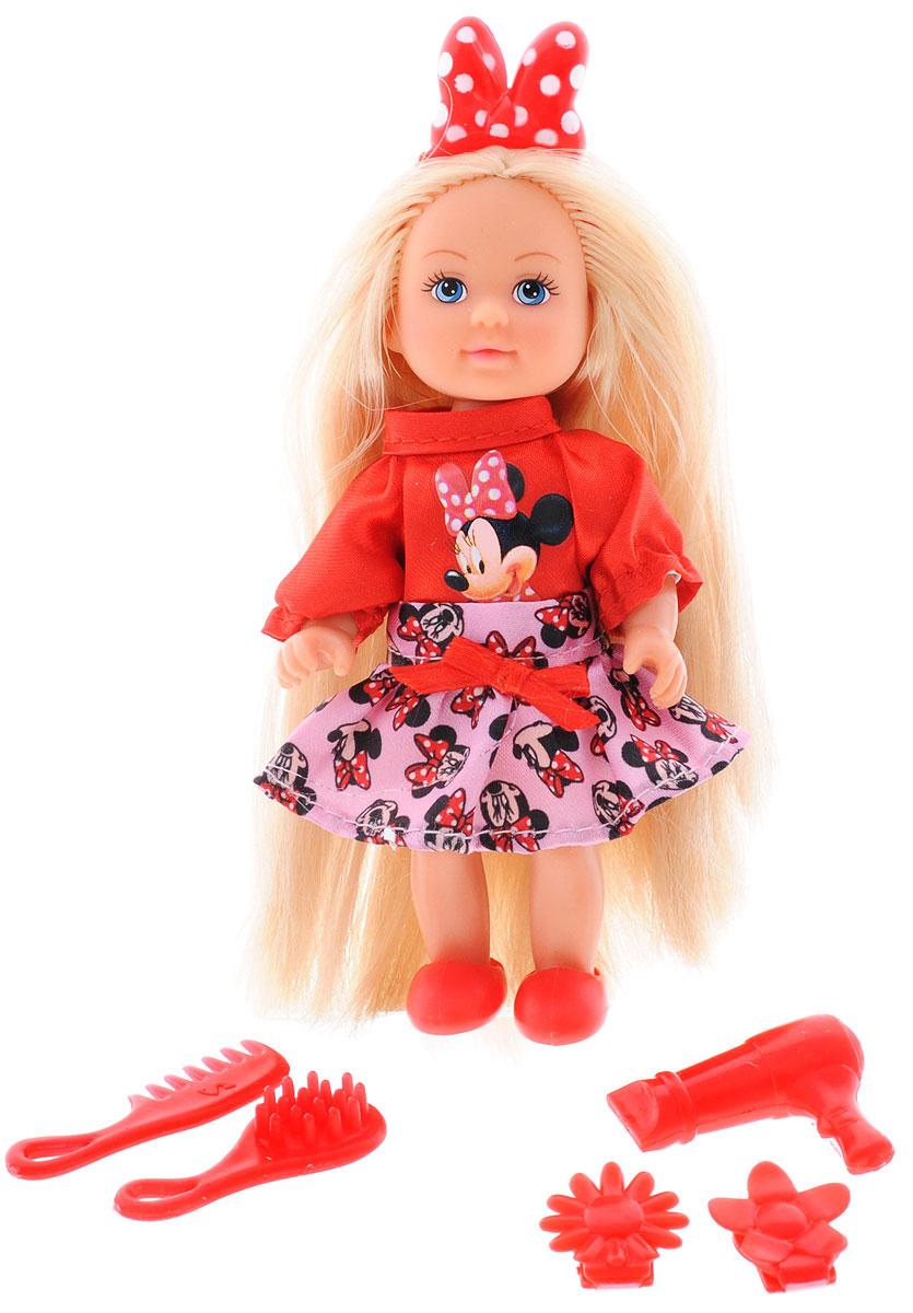 Simba Мини-кукла Еви Minnie Mouse Стилист5746513_стилистМини-кукла Simba Еви Minnie Mouse. Стилист порадует любую девочку и надолго увлечет ее. Малышка Еви одета в платье в красных и розовых тонах и аппликацией Минни Мауса. У куколки на голове красный бантик в белый горошек. В комплект к Еви входят 2 заколки, 2 расчески и фен. Вашей дочурке непременно понравится заплетать длинные белокурые волосы куклы, придумывая разнообразные прически. Руки, ноги и голова куклы подвижны, благодаря чему ей можно придавать разнообразные позы. Игры с куклой способствуют эмоциональному развитию, помогают формировать воображение и художественный вкус, а также разовьют в вашей малышке чувство ответственности и заботы. Великолепное качество исполнения делают эту куколку чудесным подарком к любому празднику.