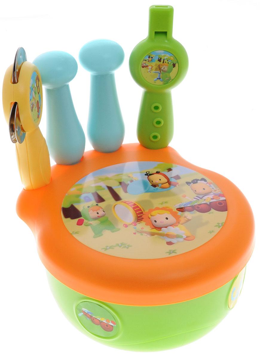 Smoby Набор музыкальных инструментов211125Набор музыкальных инструментов из серии Cotoons - это отличный подарок для вашего маленького музыканта. Теперь малыш сможет вдоволь поиграть на дудочке, постучать в барабан и погреметь! После концерта все игрушки складываются внутрь барабана-коробочки. Предметы набора выполнены в яркой цветовой гамме из экологически чистого материала и оформлены красочными изображениями. Ваш ребенок будет часами играть с набором, придумывая свои веселые мелодии. Порадуйте его таким замечательным подарком!