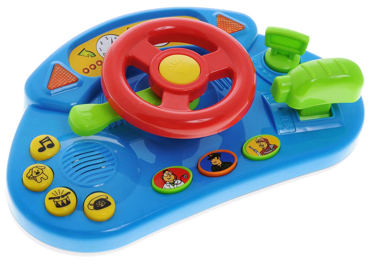 Simba Развивающая игрушка Руль цвет синий красный4019627Развивающая игрушка Руль со звуковыми и световыми эффектами непременно понравится малышу. Игрушка дополнена множеством различных функций: включается зажигание, крутится руль, включаются поворотники, можно переключать скорость и многое другое. При поворачивании ключа, издается звук, имитирующий звук мотора. Остальные кнопки при нажатии издают звуки-ассоциации с рисунками, изображенными на данных кнопках. Всего можно услышать 13 разных звуков. Для работы требуются 2 батарейки типа АА (комплектуется демонстрационными).