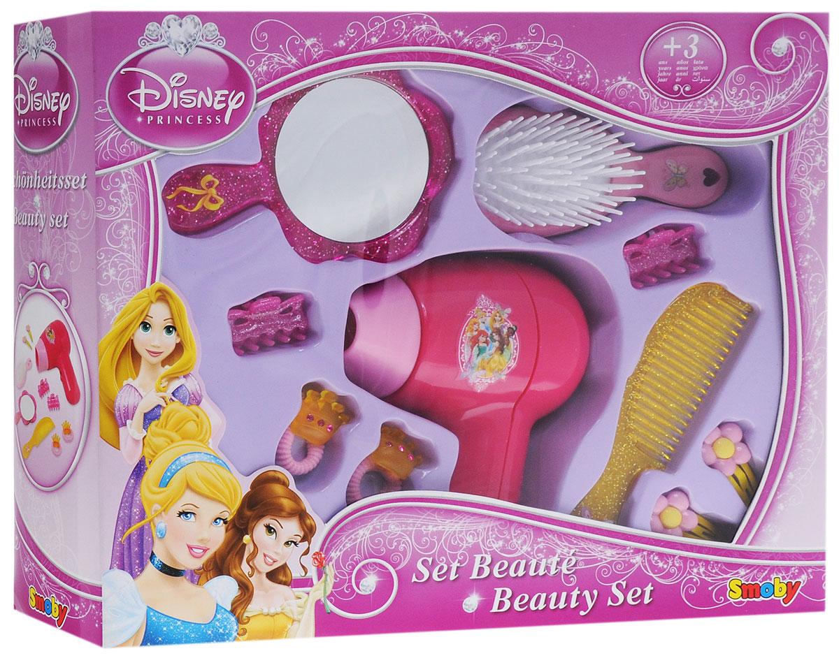 Disney Princess Игровой набор Парикмахер24229Игровой набор Disney Princess Парикмахер поможет вам перевоплотиться в настоящего королевского стилиста. Комплект включает в себя игрушечный фен, зеркальце с удобной длинной ручкой, расческу, массажную щетку, заколочки и резиночки, украшенные королевскими коронами. Вы сможете создавать невероятные прически с помощью этого набора себе, своим куклам и подружкам. Расчески, заколочки и резиночки не причинят вреда детским волосикам, поэтому вы смело сможете создавать яркие образы вашей юной принцессе. Элементы набора созданы в тематике королевских балов, празднеств и роскоши. Изображение красавиц принцесс из мультфильмов Диснея поднимут девочке настроение и вдохновят ее на новые идеи.