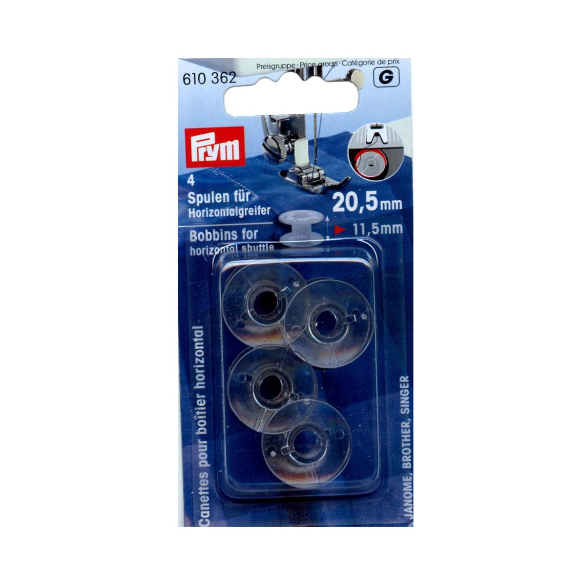 610362 Шпульки Prym для горизонтально вращающегося челнока, пластик, 20,5 мм х 11,5 мм695297