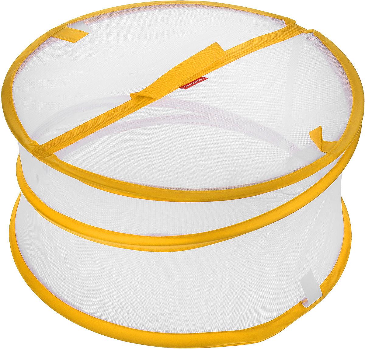 Крышка для пищевых продуктов Tescoma Delicia, складная, цвет: белый, оранжевый, диаметр 35 см630852_оранжевыйКрышка для пищевых продуктов Tescoma Delicia защитит еду от пыли и насекомых дома и на открытом воздухе. Крышка изготовлена из сетчатого текстиля и оснащена гибким металлическим каркасом. Просто составьте посуду с едой и накройте ее крышкой. Для легкого доступа изделие снабжено откидным верхом на липучке. Крышка легко складывается и раскладывается, при хранении занимает минимум пространства. Высота в разложенном виде: 20 см. Высота в сложенном виде: 1 см.
