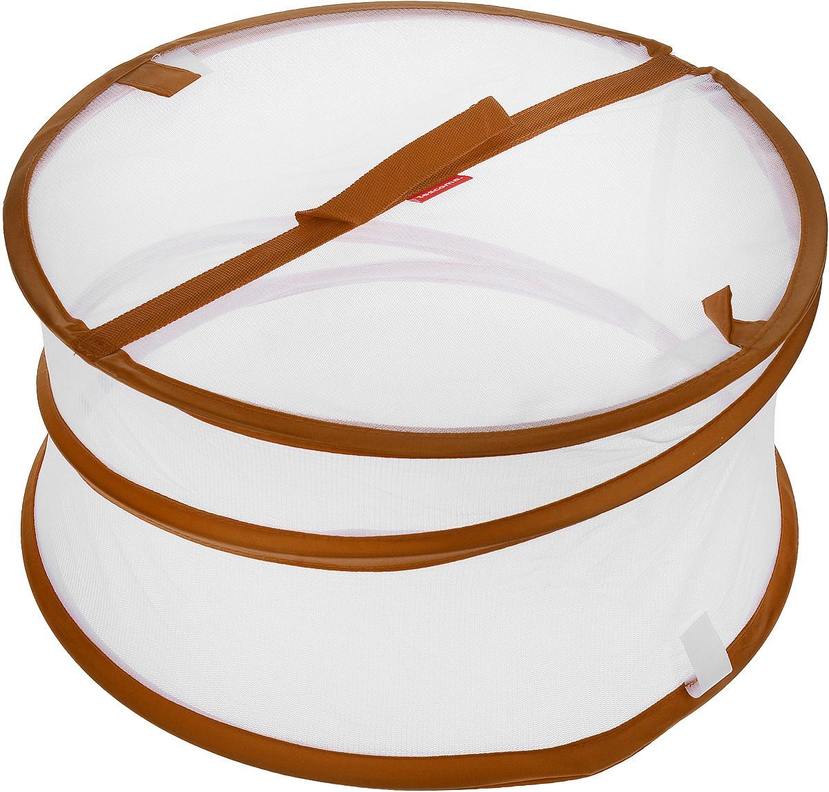 Крышка для пищевых продуктов Tescoma Delicia, складная, цвет: белый, коричневый, диаметр 35 см630852_коричневыйКрышка для пищевых продуктов Tescoma Delicia защитит еду от пыли и насекомых дома и на открытом воздухе. Крышка изготовлена из сетчатого текстиля и оснащена гибким металлическим каркасом. Просто составьте посуду с едой и накройте ее крышкой. Для легкого доступа изделие снабжено откидным верхом на липучке. Крышка легко складывается и раскладывается, при хранении занимает минимум пространства. Высота в разложенном виде: 20 см. Высота в сложенном виде: 1 см.