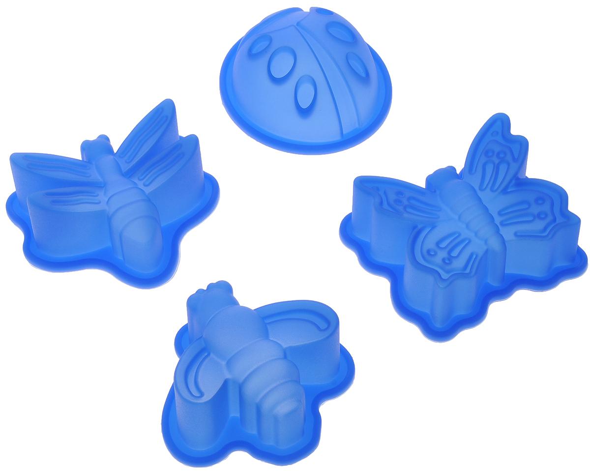 Набор форм для выпечки Mayer & Boch, цвет: синий, 4 шт22079_синийНабор Mayer & Boch состоит из 4 форм, которые выполнены в виде насекомых. Изделия изготовлены из высококачественного силикона, выдерживающего температуру от -40°C до +210° C. Если вы любите побаловать своих домашних вкусным и ароматным угощением по вашему оригинальному рецепту, то формы Mayer & Boch как раз то, что вам нужно! Можно использовать в духовом шкафу и микроволновой печи без использования режима гриль. Подходит для морозильной камеры и мытья в посудомоечной машине. Размеры формы: 7 х 7 х 3 см.