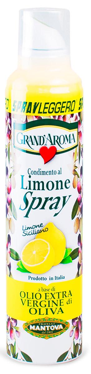 Fratelli Mantova Extra Virgin оливковое масло с лимоном спрей, 250 млBF.005.SLLОливковое масло холодного отжима (Эктра Верджине) с ароматом лимона. Масло упаковано в баллончик под давлением, которым легко пользоваться. В зависимости от силы надавливания, есть три вида распыления: капли, струя, разбрызгивание.