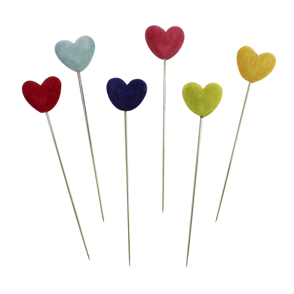 Булавки декоративные Астра с цветными сердечками, 6 шт. H17-L13787714204Булавки используются для творчества и декорирования. В упаковке 6 булавочек.