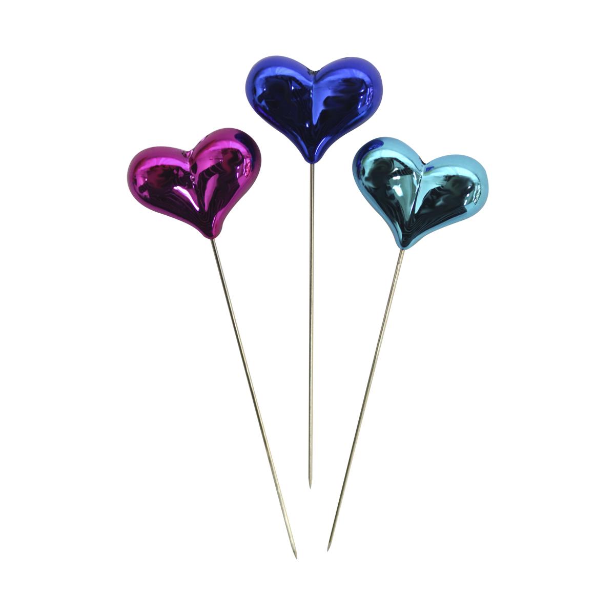 Булавки декоративные Астра с цветными сердечками, 6 шт. HR27287714208Булавки используются для творчества и декорирования. В упаковке 6 булавочек.