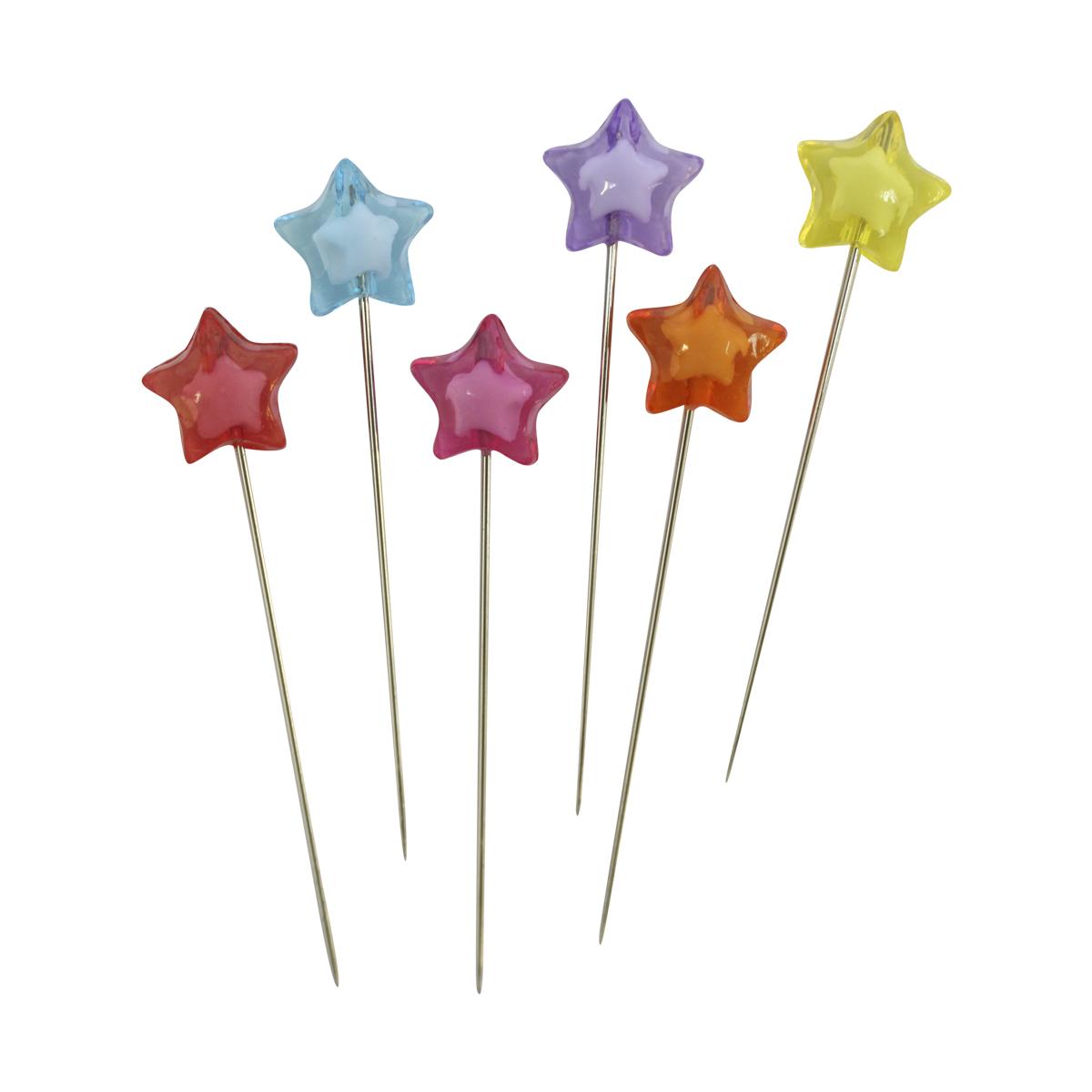 Булавки декоративные Астра с цветными звездочками, 6 шт. H17-L13167714210Булавки используются для творчества и декорирования. В упаковке 6 булавочек.