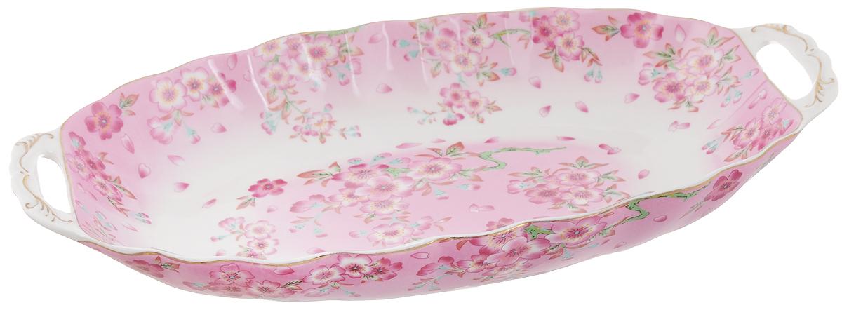 Блюдо для горячего Elan Gallery Сакура, 33 х 18,5 х 4,5 см740148Блюдо для горячего Elan Gallery Сакура, изготовленное из керамики, станет украшением вашего праздничного стола. Изделие подходит для подачи горячего или шашлыка. В такой посуде можно приготовить блюдо и, не перекладывая на другую тарелку, подать его стол. Благодаря двум ручками его удобно переносить. Красочность оформления придется по вкусу тем, кто предпочитает утонченность и изящность. Не рекомендуется применять абразивные моющие средства. Не использовать в микроволновой печи. Объем блюда: 900 мл.