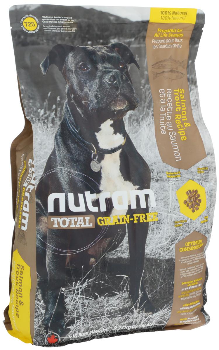 Корм сухой для собак Nutram, беззерновой, из мяса лосося и форели, 2,72 кг83492Сухой корм для собак Nutram - это натуральный полнорационный корм для собак без содержания зерна. В составе корма: - Углеводы с низким гликемическим индексом (ГИ), полученные из бобовых (турецкий горох и зеленый горошек); - Органические пребиотики (морские водоросли и инулин агавы); - Мощные продукты, такие как лебеда, семена чии, свежие ягоды, гранат и капуста; - Свыше 90% свежих фруктов и овощей канадского производства; - Не содержит картофеля. Состав: мясо форели без костей, дегидрированное мясо лосося, зеленый горошек, дегидрированное мясо рыбы менхаден, бараний горох, чечевица, каноловое масло, мясо лосося без костей, натуральный овощной ароматизатор, жир лососевых рыб, яблоки, морковь, хлорид холина, тыква мускатная, киноа, клюква, черника, ежевика, листовая капуста, ламинария, корень цикория (пребиотик), витамины и минералы (витамин E, А, D3, B3, C, B5, B1, B2, B6, B9, B7, B12, бета-каротин, протеинат цинка, сульфат железа,...