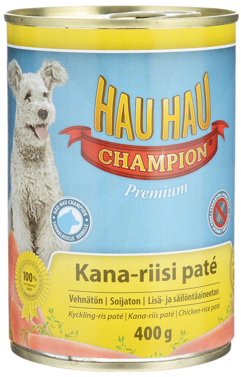 Консервы Hau-Hau Champion для собак, курица с рисом, 400 г81194Консервы Hau-Hau Champion - это полноценный корм для собак любого возраста. Не содержит сои, пшеницы, пищевых добавок и красителей. Благодаря большому содержанию мяса продукт легко усваивается. Консервы можно давать собаке отдельно, так как они содержат все необходимые питательные вещества, или же смешивать с сухим кормом, чтобы сделать его еще более вкусным. Состав: мясо и продукты животного происхождения 95% (50% курица), рис 4,1%, витамины и минералы. Питательная ценность: влажность 81%, белок 8,5%, масла и жиры 6%, пепел 2,5%, клетчатка 0,7%. Витамины и минералы: витамин А 3000 МЕ, витамин D3 300 МЕ, цинк 16 мг, железо 6,5 мг, медь 0,1 мг. Товар сертифицирован.