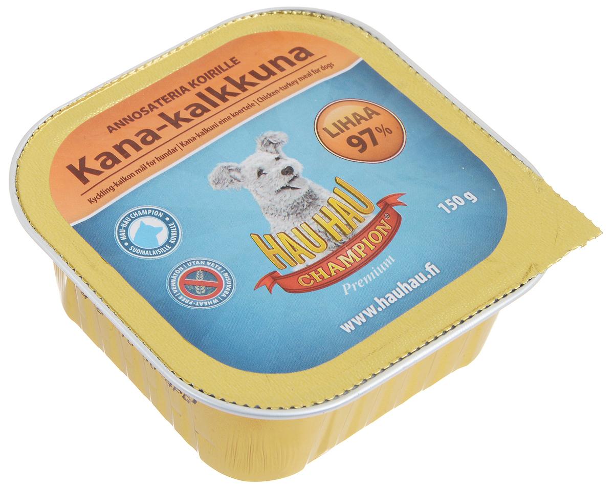 Консервы Hau-Hau Champion для собак, с курицей и индейкой, 150 г81204Консервы Hau-Hau Champion - это полноценный корм для собак любого возраста. Не содержит сои, пшеницы, пищевых добавок и красителей. Благодаря большому содержанию мяса продукт легко усваивается. Консервы можно давать собаке отдельно, так как они содержат все необходимые питательные вещества, или же смешивать с сухим кормом, чтобы сделать его еще более вкусным. Состав: мясо и продукты животного происхождения 97% (50% курица, 20% индюшатина), кукуруза, витамины и минералы. Питательная ценность: влажность 80%, белок 9%, масла и жиры 6%, пепел 3%, клетчатка 0,5%. Витамины и минералы: витамин А 3000 МЕ, витамин D3 300 МЕ, цинк 16 мг, железо 6,5 мг, медь 0,1 мг. Товар сертифицирован.