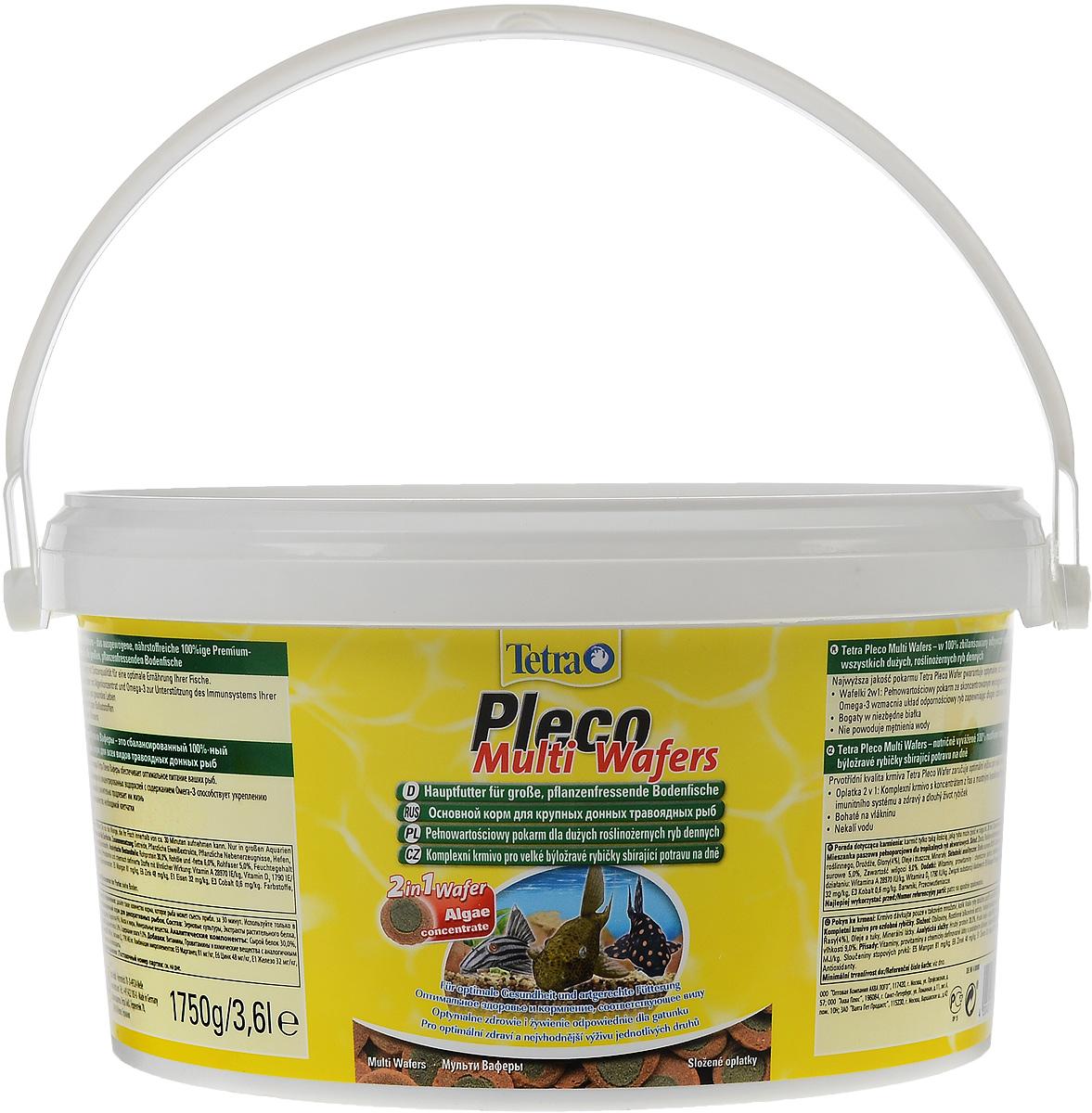 Корм Tetra Pleco. Multi Wafers для крупных травоядных донных рыб, пластинки, 3,6 л (1,75 кг)193840Корм Tetra Pleco. Multi Wafers - это 100% растительная кормовая смесь для крупных травоядных донных рыб. Корм состоит из концентрированных водорослей с содержанием Омега-3, а так же содержит большое количество необходимой клетчатки, что способствует укреплению иммунной системы рыб и значительно продлевает им жизнь. Не мутит воду. Рекомендации по кормлению: Давайте такое количество корма, которое рыба может съесть приблизительно за 30 минут. Используйте только в больших аквариумах. Состав: зерновые культуры, экстракты растительного белка, растительные продукты, дрожжи, водоросли (4%), масла и жиры, минеральные вещества. Добавки: витамины, провитамины и химические вещества с аналогичным воздействием: витамин А 28970 МЕ/кг, витамин Д3 1790 МЕ/кг. Комбинации элементов: Е5 Марганец 81 мг/кг, Е6 Цинк 48 мг/кг, Е1 Железо 32 мг/кг, Е3 Кобальт 0,6 мг/кг. Красители, антиоксиданты. Товар сертифицирован.