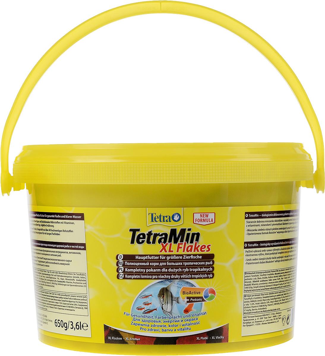 Корм Tetra TetraMin. XL Flakes для больших тропических рыб, крупные хлопья, 3,6 л (650 г)193789Корм Tetra TetraMin. XL Flakes - это биологически сбалансированный корм в виде хлопьев, предназначенный для больших тропических декоративных рыб. Тщательно подобранная смесь высокопитательных функциональных ингредиентов, витаминов, минералов и микроэлементов для ежедневного полноценного питания рыб. С хлопьями TetraMin ваши рыбки питаются безопасным кормом в виде хлопьев, подходящим по размеру для больших рыб. Смесь семи разных видов хлопьев из более чем 40 видов высококачественного сырья легко усваивается рыбами. Исключительное свойство хлопьев плавать и медленно погружаться в воду обеспечивает оптимальное поглощение корма разными видами рыб. Запатентованная БиоАктив-формула поддерживает работоспособность иммунной системы, обеспечивая высокую продолжительность жизни. Корм содержит пребиотики для улучшенного функционирования организма и усвоения питательных веществ. При регулярном кормлении TetraMin сокращается концентрация...