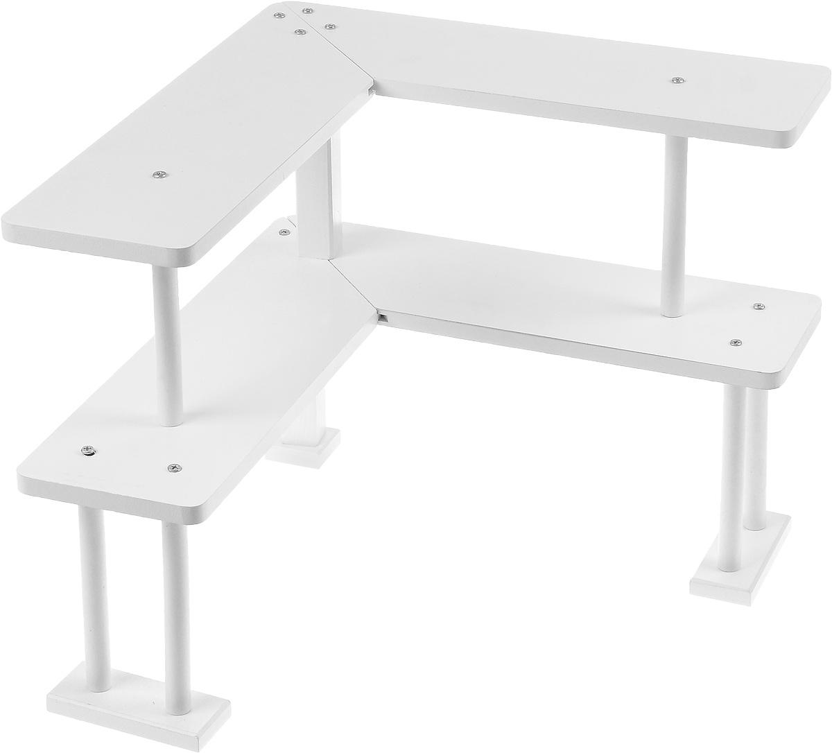Полка угловая Mayer & Boch, 2-х ярусная. 2424924249Деревянная угловая полка Mayer Boch - удобная и практичная конструкция, которая поможет вам правильно и рационально организовать рабочее пространство на вашем письменном столе. Полка представляет собой угловую двухъярусную конструкцию на высоких ножках, что позволяет использовать каждый сантиметр вашего стола с пользой и умом. В такой полке можно расположить все необходимые письменные принадлежности, документы или книги. Стильный и современный дизайн конструкции позволит ей вписаться в любой интерьер. Полка поставляется в разобранном виде и собирается при помощи саморезов (входят в комплект). Размер полки в собранном виде: 37 х 37 х 34 см. Высота нижнего яруса: 17,5 см. Высота верхнего яруса: 16,5 см. Глубина полки: 11,5 см.