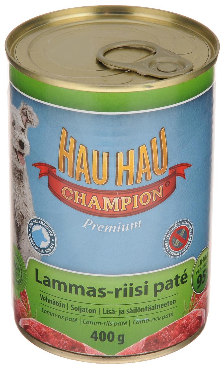 Консервы для собак Hau-Hau Champion, паштет из баранины с рисом, 400 г81196Консервы Hau-Hau Champion - нежнейший паштет из баранины с рисом. Это полноценный корм для собак любого возраста. Не содержит сои, пшеницы, пищевых добавок и красителей. Благодаря большому содержанию мяса продукт легко усваивается. Консервы можно давать собаке отдельно, так как они содержат все необходимые питательные вещества, или же смешивать с сухим кормом, чтобы сделать его еще более вкусным. Состав: мясо и продукты животного происхождения 95% (из которых баранина 10%), рис 4,1 %, витамины и минералы. Витамины и минералы на кг: витамин A 3 000 IU, витамин D3 300 IU, цинк (оксид цинка) 16 мг, железо (сульфат пенгидрат железа) 6,5 мг, медь (сульфат пенгидрат меди) 0,1 мг. Пищевая ценность: влажность 81 %, белки 8,5 %, масла и жиры 6 %, пепел 2,5 %, клетчатка 0,7 %. Товар сертифицирован.