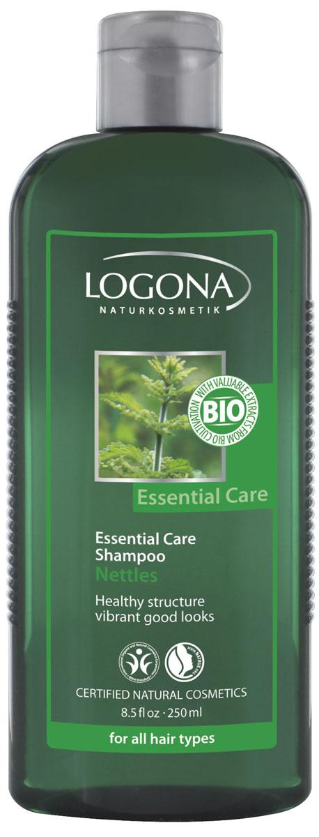 LOGONA Essential Care Шампунь с Экстрактом Крапивыт250 мл30479Бережно очищает и увлажняет. Органический шампунь с экстрактом крапивы бережно очищает и подходит для использования всей семьей. В состав шампуня входят увлажняющие растительные масла, придающие волосам мягкость и блеск, глицерин, сохраняющий влагу внутри волоса и натуральные био-экстракты крапивы и зародышей пшеницы. Мягкие моющие вещества эффективно справляются с загрязнениями, тщательно удаляют средства для укладки волос, при этом не раздражая даже чувствительную кожу головы. Регулярное применение шампуня усиливает природный блеск и повышает эластичность ваших волос.