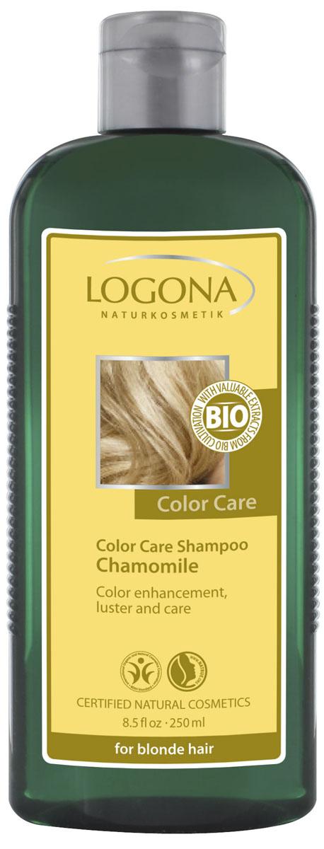LOGONA Color Care Шампунь с Ромашкой 250 мл32163Ежедневно ухаживает за светлыми волосами. Идеальное средство для ухода за светлыми волосами. Подойдет как натуральным блондинкам, так и тем, кто предпочитает окрашивать волосы при помощи натуральных красителей. Органические экстракты ромашки и календулы, входящие в состав шампуня, препятствуют вымыванию пигмента из структуры волос. Протеины шелка и экстракт пшеничных отрубей придают волосам упругость и гладкость. Благодаря особым мягким моющим веществам растительного происхождения, обеспечивающим волосам нежное очищение, шампунь подходит для ежедневного использования.