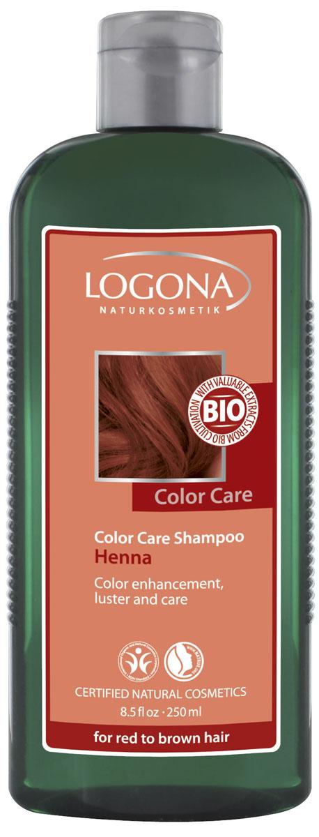 LOGONA Color Care Шампунь с Хной 250 мл32164Ежедневно ухаживает за волосами рыжих и каштановых оттенков. Идеальное средство для ухода за волосами рыжих и каштановых оттенков. Подойдет как натуральным шатенкам, так и тем, кто предпочитает окрашивать волосы при помощи натуральных красителей. Био-экстракт хны, входящий в состав шампуня, помогает поддерживать насыщенные глубокие оттенки волос – от рыжего до шоколадного. Шампунь Color Care бережно очищает волосы, усиливая их природный цвет и продлевая эффект после окрашивания. Растительный экстракт листьев березы и календулы, богатый микроэлементами и витаминами, необходимыми для роста волос, интенсивно питает и увлажняет. Зародыши пшеницы, скорлупа грецкого ореха и экстракт шелка восстанавливают структуру волос, придавая им блеск, объем и мягкость.