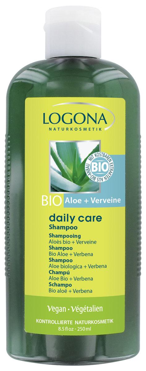 LOGONA Daily Care Шампунь с Био-Алоэ и Вербеной 250 мл2109Очищает и увлажняет. Шампунь Daily Care идеально подходит для ежедневного применения. Мягкие пенящиеся вещества отлично очищают, не раздражая даже чувствительную кожу головы. Масла био-алоэ и био-оливы, входящие в состав шампуня, увлажняют волосы, придавая им естественный блеск, объем и сияние.