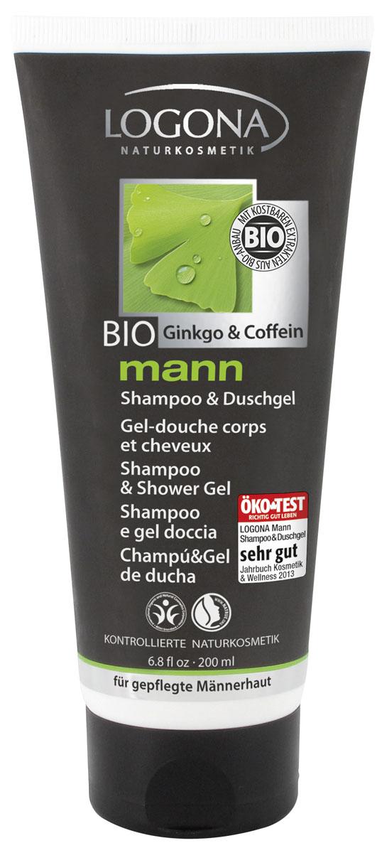 LOGONA Man Шампунь и Гель для душа 200 мл2177Начните свой день бодро! Сочетание натуральных моющих веществ, кофеина, экстракта гинкго и алоэ вера обеспечивает нежное и тщательное очищение волос и кожи тела. Оказывает увлажняющее действие на кожу. Подходит для ежедневного использования. Обладает пряным, древесным ароматом.