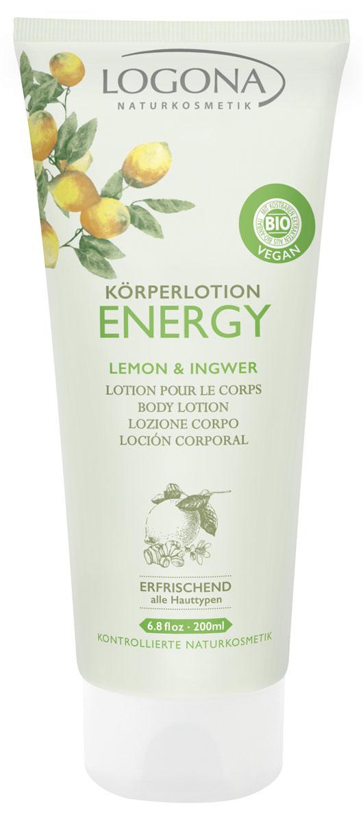 LOGONA ENERGY Лосьон для тела с Лимоном и Имбирем 200 мл572Освежает и увлажняет. Освежающий лосьон для тела ENERGY интенсивно питает кожу. Экстракт лимона стимулирует процесс регенерации клеток кожи. Экстракт корня имбиря тонизирует и улучшает кровообращение, восстанавливая упругость кожи. Свежий цитрусовый аромат снимает стресс и заряжает энергией на весь день.