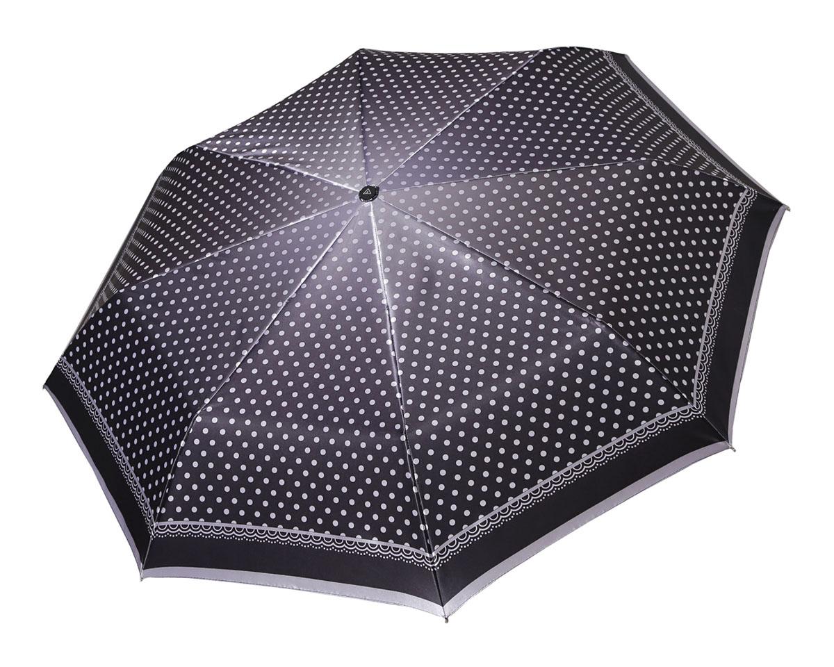 Зонт женский Fabretti, автомат, 3 сложения, цвет: черный. L-16106-18L-16106-18Зонт женский Fabretti, облегченный суперавтомат, 3 сложения