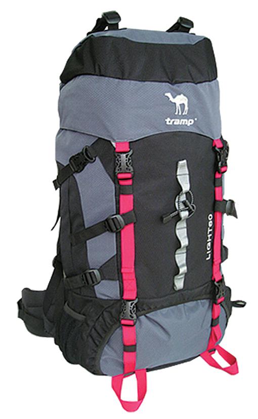Рюкзак туристический Tramp Light, цвет: черно-серый. 60л