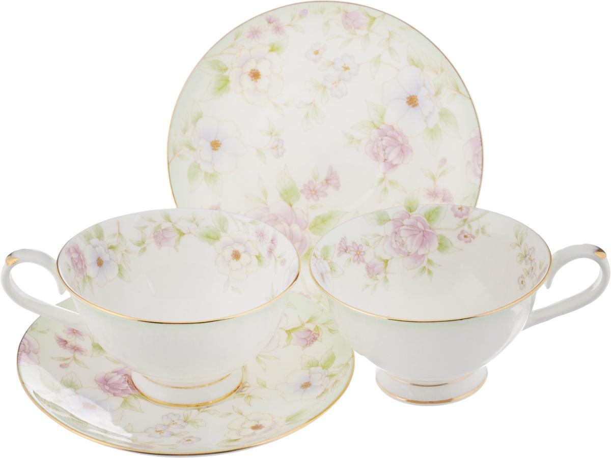 Набо чайный Elan Gallery Карнавал цветов, 4 предмета530040Чайный набор Elan Gallery Карнавал цветов состоит из 2 чашек и 2 блюдец, изготовленных из высококачественной керамики. Предметы набора декорированы золотистой окантовкой и изображением цветов. Чайный набор Elan Gallery Карнавал цветов украсит ваш кухонный стол, а также станет замечательным подарком друзьям и близким. Набор упакован в подарочную коробку с атласной подложкой. Не рекомендуется применять абразивные моющие средства. Не использовать в микроволновой печи. Объем чашки: 230 мл. Диаметр чашки по верхнему краю: 10,5 см. Высота чашки: 6 см. Диаметр блюдца: 15 см.