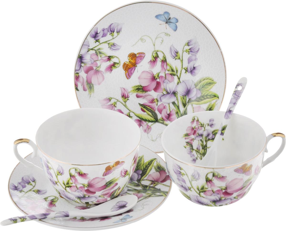 Набор чайный Elan Gallery Душистый цветок, 6 предметов180792Чайный набор Elan Gallery Душистый цветок состоит из 2 чашек, 2 блюдец и 2 ложечек, изготовленных из высококачественной керамики. Предметы набора декорированы изображением цветов. Чайный набор Elan Gallery Душистый цветок украсит ваш кухонный стол, а также станет замечательным подарком друзьям и близким. Набор упакован в подарочную коробку с атласной подложкой. Не рекомендуется применять абразивные моющие средства. Не использовать в микроволновой печи. Объем чашки: 250 мл. Диаметр чашки по верхнему краю: 9,5 см. Высота чашки: 6 см. Диаметр блюдца: 15 см. Длина ложки: 12,5 см.