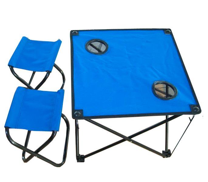 Набор мебели IRIT (стол + 2 табурета), цвет: синий. IRG-52100-00000253Стол складной с двумя табуретами IRG-521 Размер стула : 21х27х28 см Размер стола : 46х46х41 см Максимальная нагрузка: 100 кг Материал: полиэстер 600D Цветовая гамма: синий