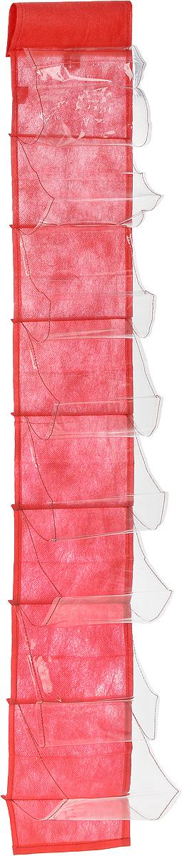 Чехол-карман для мелочей Eva, подвесной, цвет: красный, 120 х 16 смЕ41_красныйПодвесной чехол-карман Eva, выполненный из спанбонда и ПВХ, предназначен для хранения мелочей. Изделие оснащено 8 вместительными карманами. С помощью специальной петельки и липучек чехол можно разместить на стене, за дверью или в шкафу. Особая конструкция позволяет, при необходимости, одним движением сложить или разложить полку. . С таким чехлом-карманом вы сможете поддерживать порядок в доме и решить проблему хранения одежды, игрушек и разбросанных мелочей.. . Размер чехла: 120 х 16 см.. Количество карманов: 8 шт.