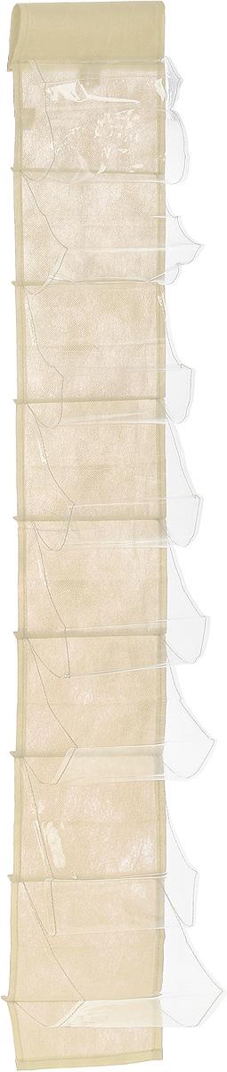 Чехол-карман для мелочей Eva, подвесной, цвет: молочный, 120 х 16 смЕ41_молочныйПодвесной чехол-карман Eva, выполненный из спанбонда и ПВХ, предназначен для хранения мелочей. Изделие оснащено 8 вместительными карманами. С помощью специальной петельки и липучек чехол можно разместить на стене, за дверью или в шкафу. Особая конструкция позволяет, при необходимости, одним движением сложить или разложить полку. . С таким чехлом-карманом вы сможете поддерживать порядок в доме и решить проблему хранения одежды, игрушек и разбросанных мелочей.. . Размер чехла: 120 х 16 см.. Количество карманов: 8 шт.
