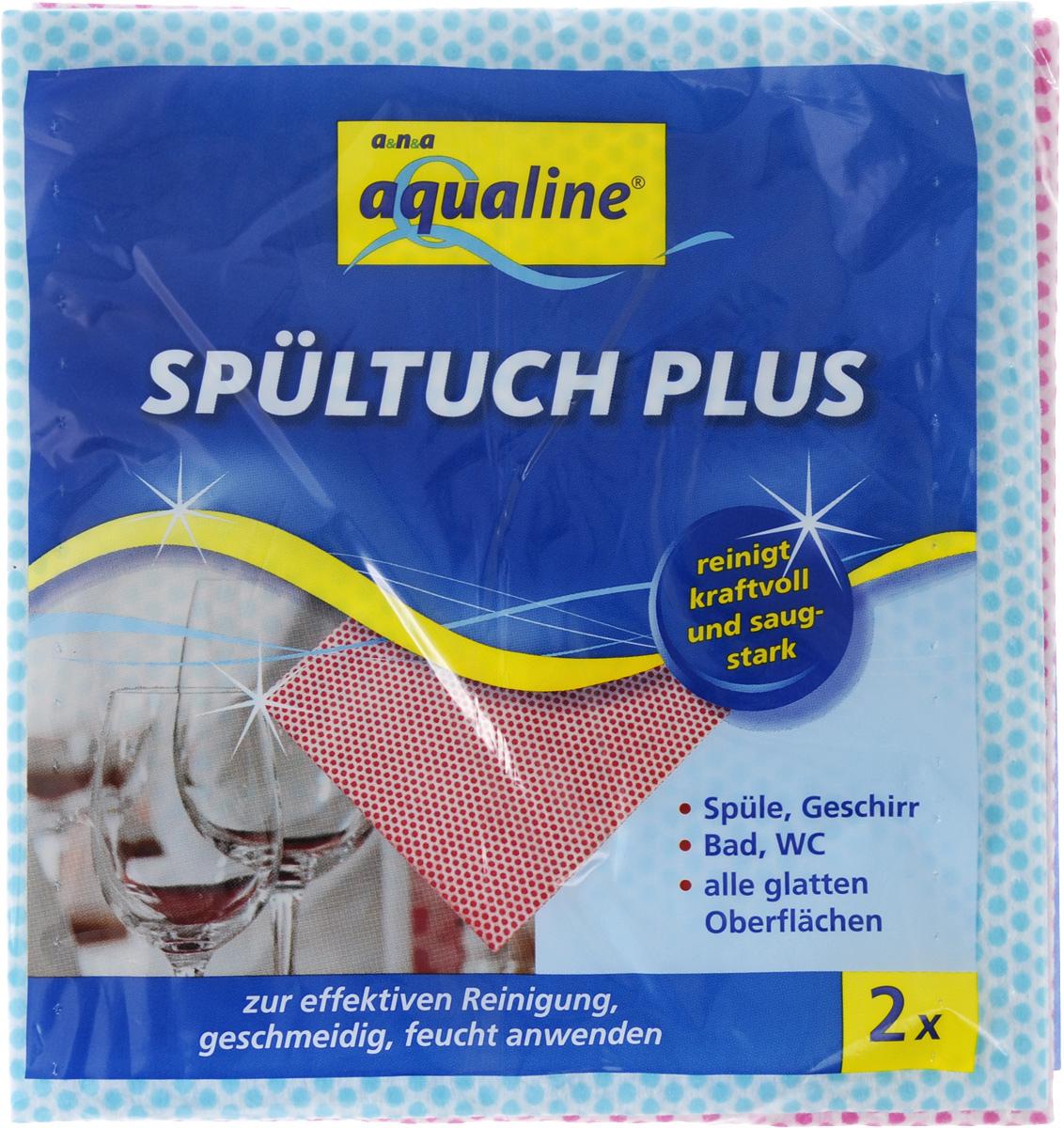 """Салфетка Aqualine """"Plus"""" для посуды и домашнего хозяйства, цвет: голубой, малиновый, 35 х 38 см, 2 шт"""