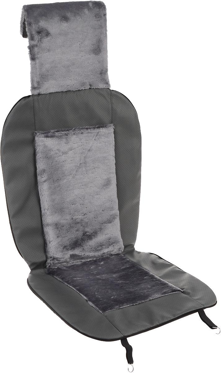 Накидка на сиденье автомобиля Auto Premium47115Накидка на сиденье автомобиля Auto Premium - это стильное и практичное решение для салона автомобиля. Накидка изготовлена из экокожи и искусственного меха. Экокожа обеспечит долговечность использования накидки, а искусственный мех сделает сиденье автомобиля еще более комфортным. Накидка легко надевается и плотно закрепляется на сиденье с помощью карабинов и крючков. Не мешает Airbag. Долговечная и в то же время теплая накидка в ваш автомобиль станет полезным приобретением для любого автомобилиста.
